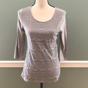 Ann Taylor Loft Gray Lace Cotton T-shirt